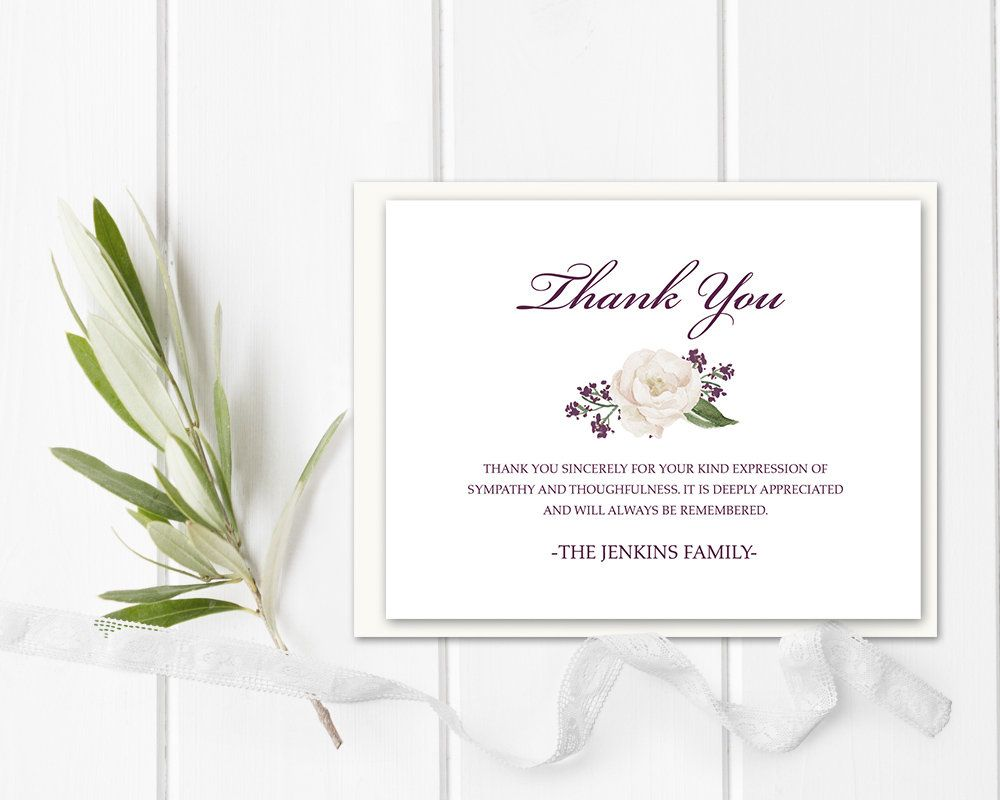 Funeral Acknowledgement Card Template Sympathy Thank You Note Etsy In 2021 Sympathy Thank You Cards Sympathy Thank You Notes Thank You Card Template