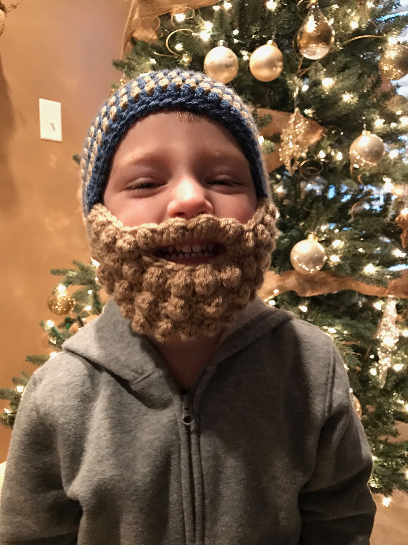 Crochet beard hat toddler
