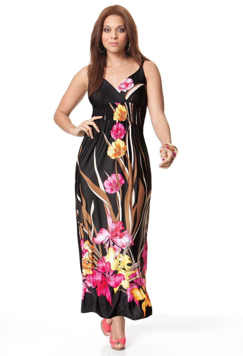Avenue ~Women's Plus Size Smocked Maxi Dress Item #: 0305-02445-1345