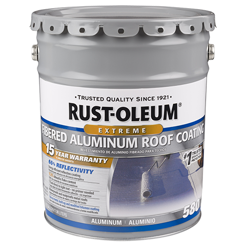Rust Oleum 15 Year Fibered Aluminum Roof Coating Is A Metallic Pigmented Coating Used For Rust Proofing And Weat Roof Coating Aluminum Roof Metal Roof Coating