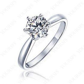 18K White Gold Plated 1ct Swarovski Crystal Diamond wedding ring R059W1