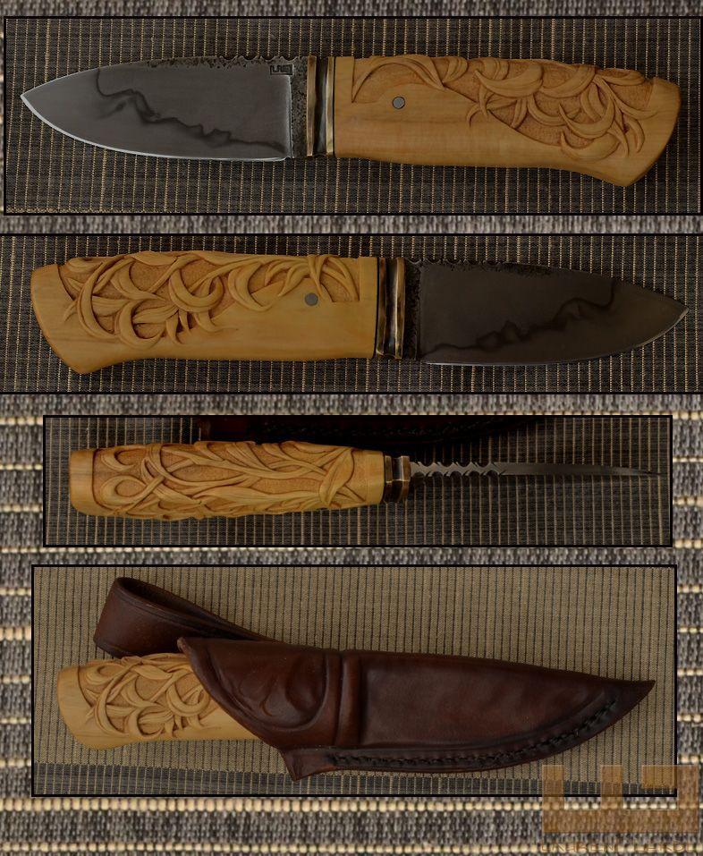 Gerdil Лоран - Скульптура - Человек Стэнли нож. Клинок C105 селективный закалка. Длина: 9 см .Hauteur мм 32. Толщиной 4 мм на рикассо. Самшит ручка резные. Охрана бронза. Общая длина 20,5 см. Дело растительного дубления кож.