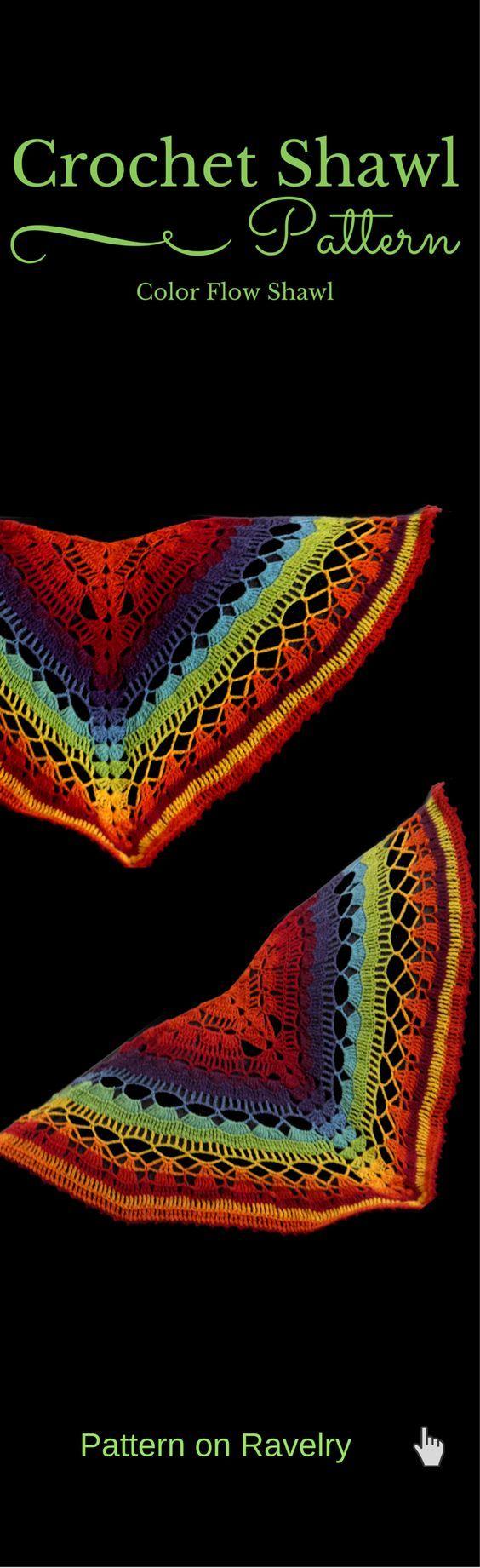 Color Flow Shawl pattern by Elena Madsen | Chal, Blusas de tejido y ...