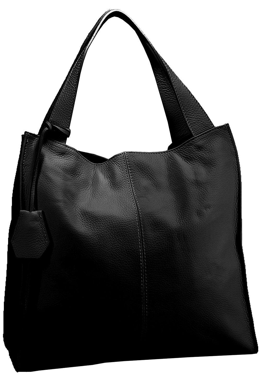 Fereti Damen Schultertasche Leder Shopper Schwarz Große Tasche Handtasche Aus Sehr Weichem Leder Amazon De Koffer Ruc Große Tasche Leder Shopper Handtaschen
