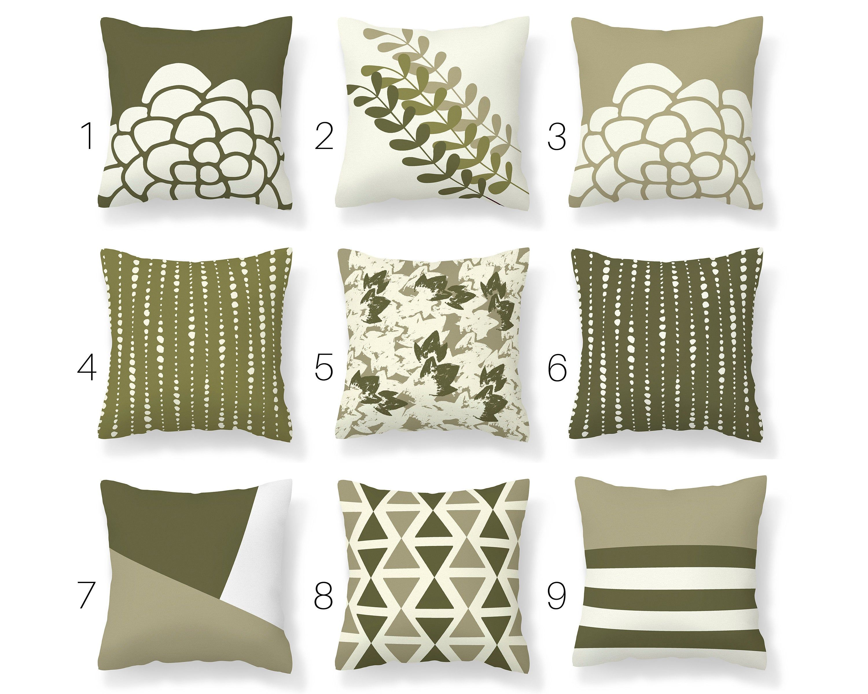 Olive Green Throw Pillow Cover Green Mix And Match Pillow Etsy In 2020 Green Throw Pillows Throw Pillows Throw Pillow Covers