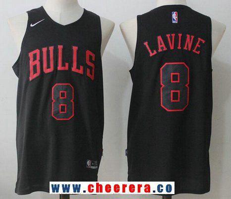 4d3fb1ef2 Men s Chicago Bulls  8 Zach LaVine All Black 2017-2018 Nike Swingman  Stitched NBA Jersey