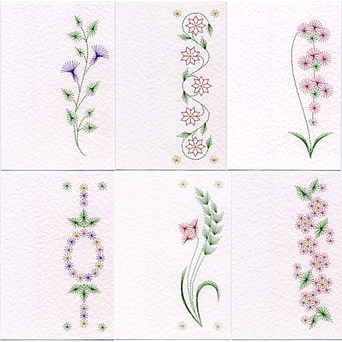 Value Pack No. 22: Bookmark Flowers At Stitching Cards