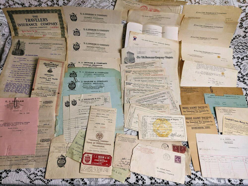 Vintage Insurance Ephemera Lynchburg Richmond Va Receipts Policy