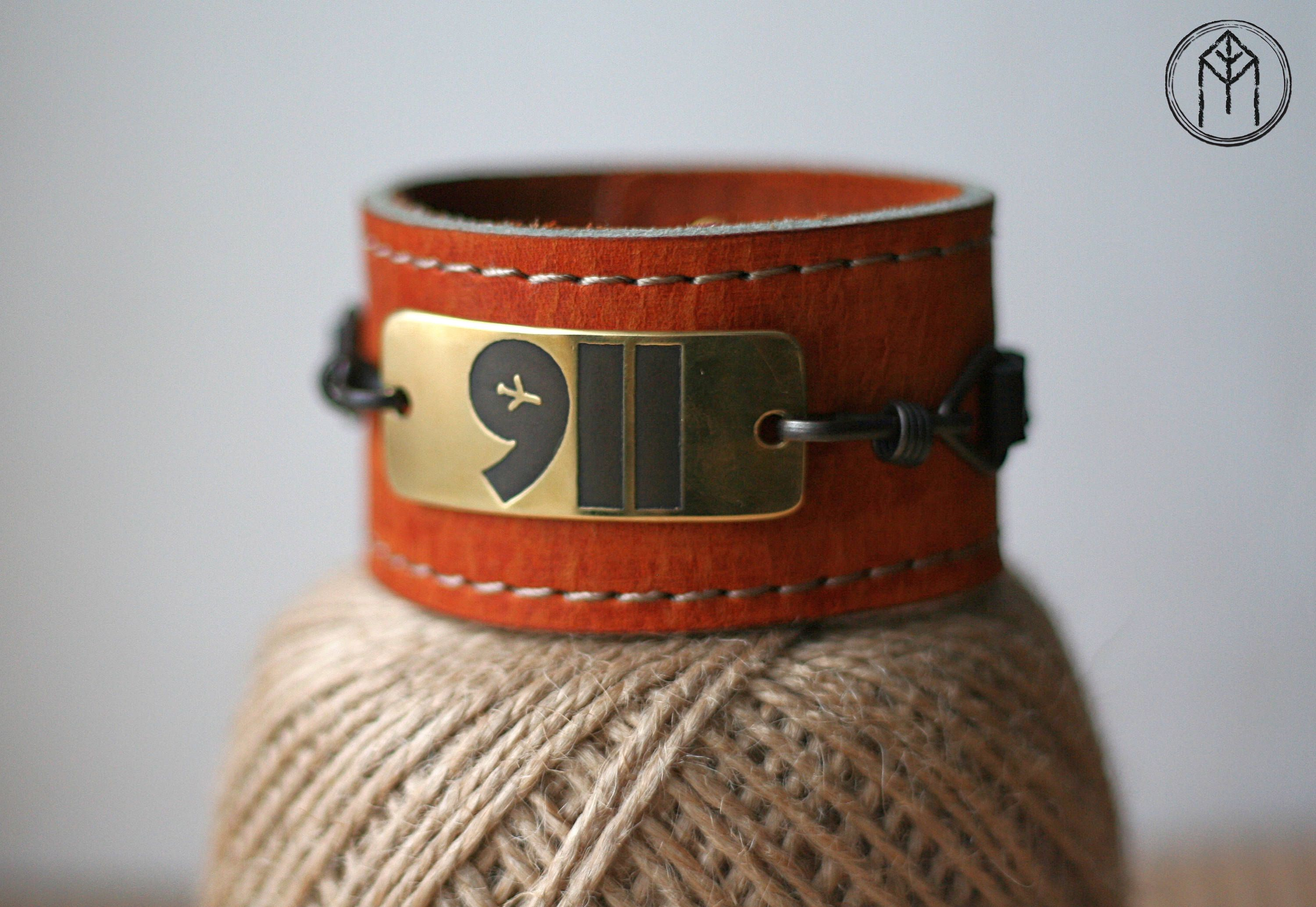 "Leather bracelet with a brass plate ""911"" by LavkaGMG on Etsy"