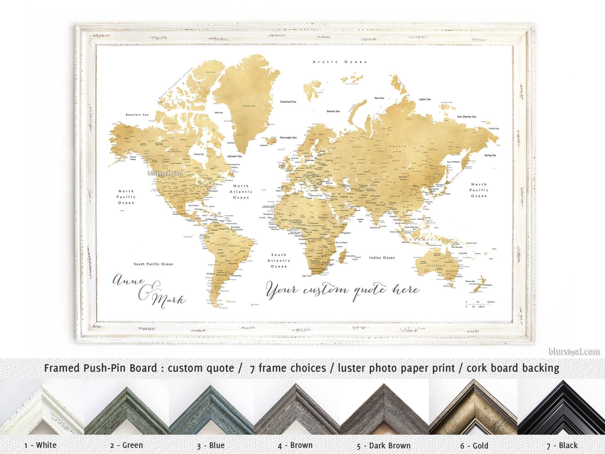 Holiday deal 20 off all personalized framed push pin maps products elite framed push pin board featuring your custom quote gold world map with cities gumiabroncs Gallery