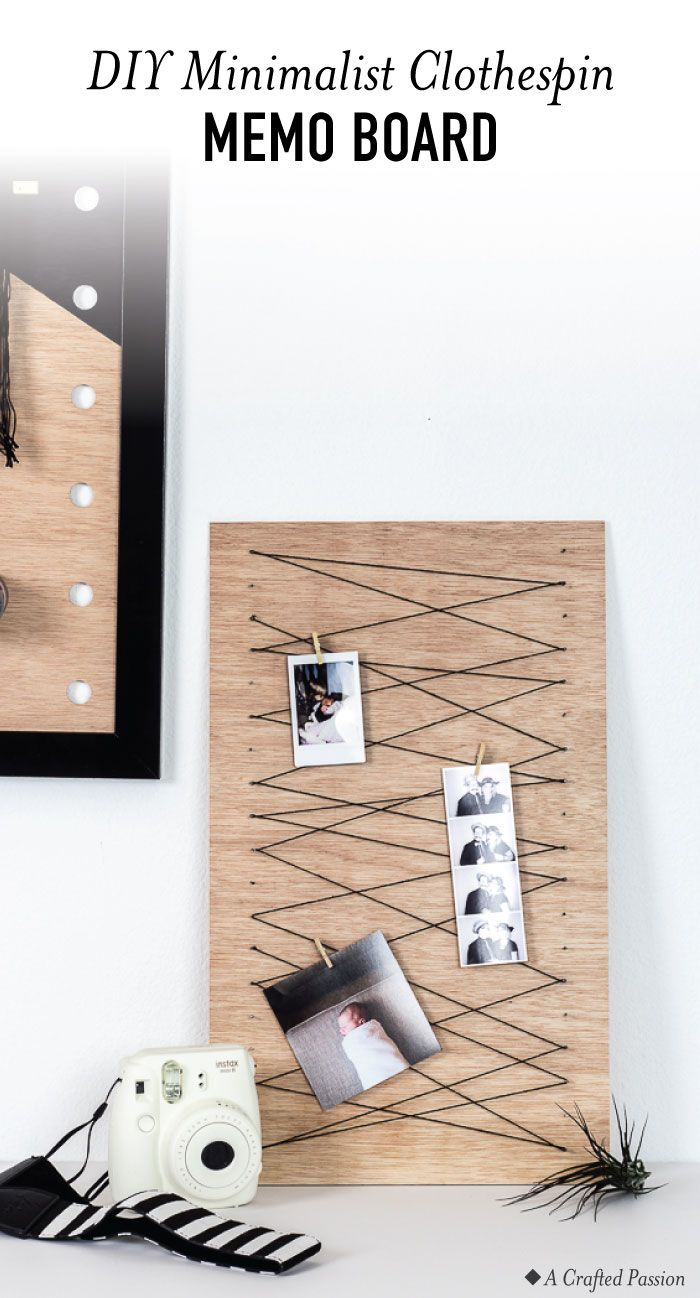 Minimalist Clothespin Memo Board