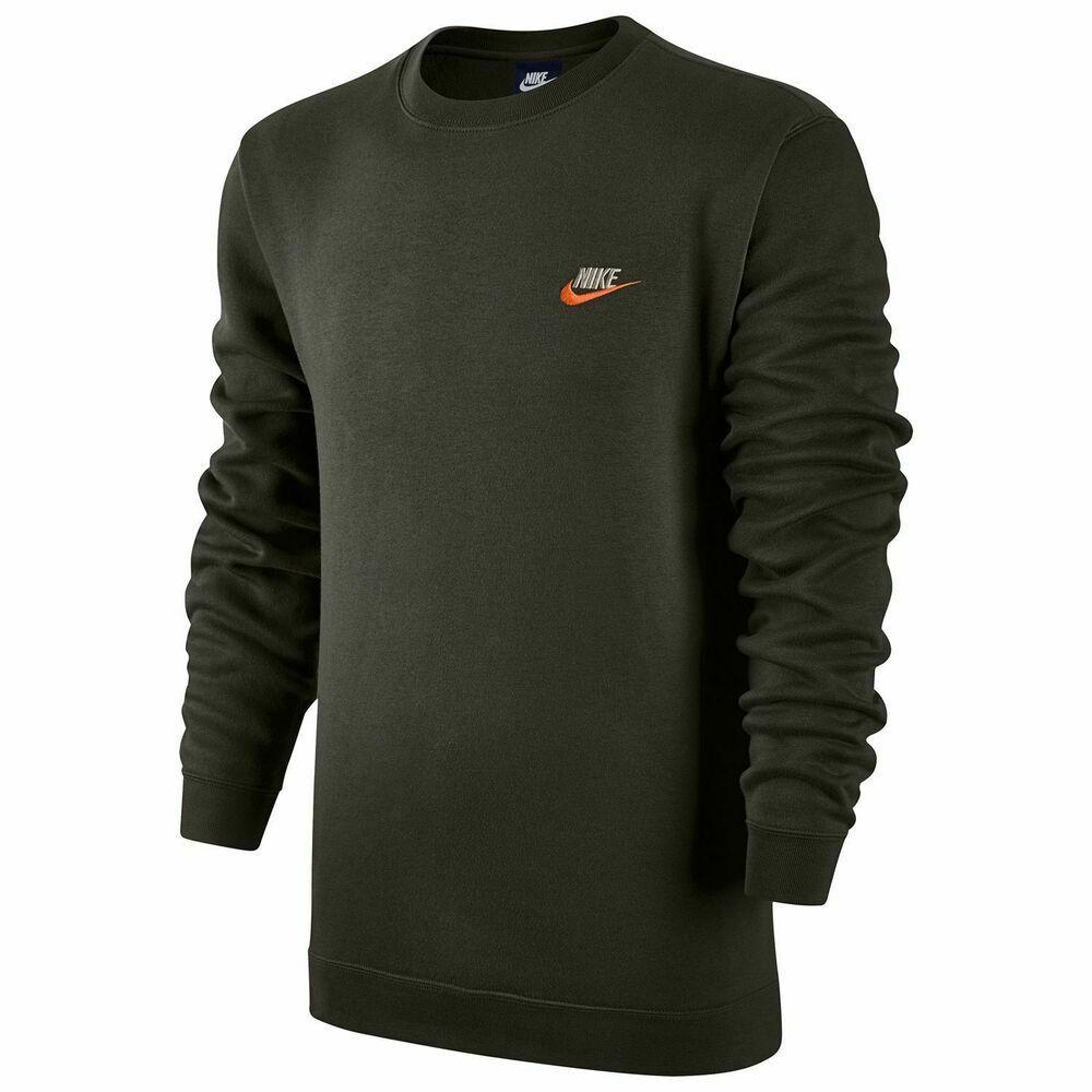 Nike Mens Club Fleece Crew Sweatshirt Sequoia Green Team Orange 804340 355 2xl Nike Sweatshirt Mens Sweatshirts Long Sleeve Tshirt Men Sweatshirts [ 1000 x 1000 Pixel ]