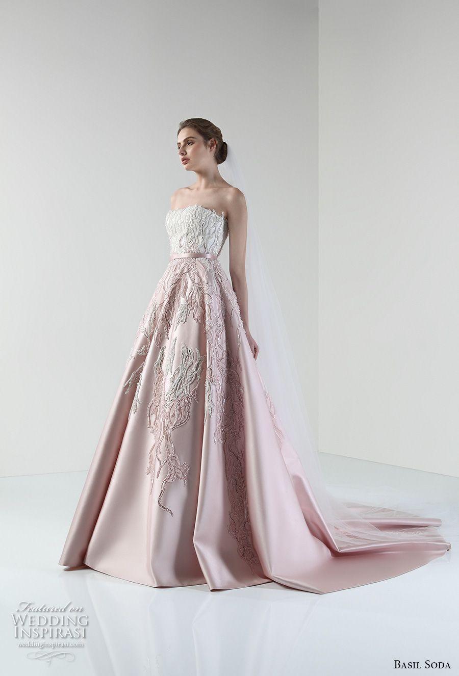 basil soda 2017 bridal strapless straight across heavily embellished bodice romantic princess pink a line wedding dress chapel train (11) mv -- Basil Soda 2017 Wedding Dresses
