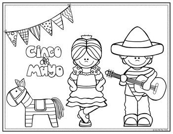 Cinco De Mayo Coloring and Writing Pages, Fiesta