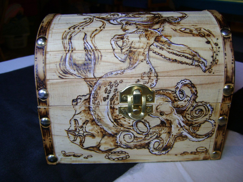 Rectangular box wood burned with a mermaid