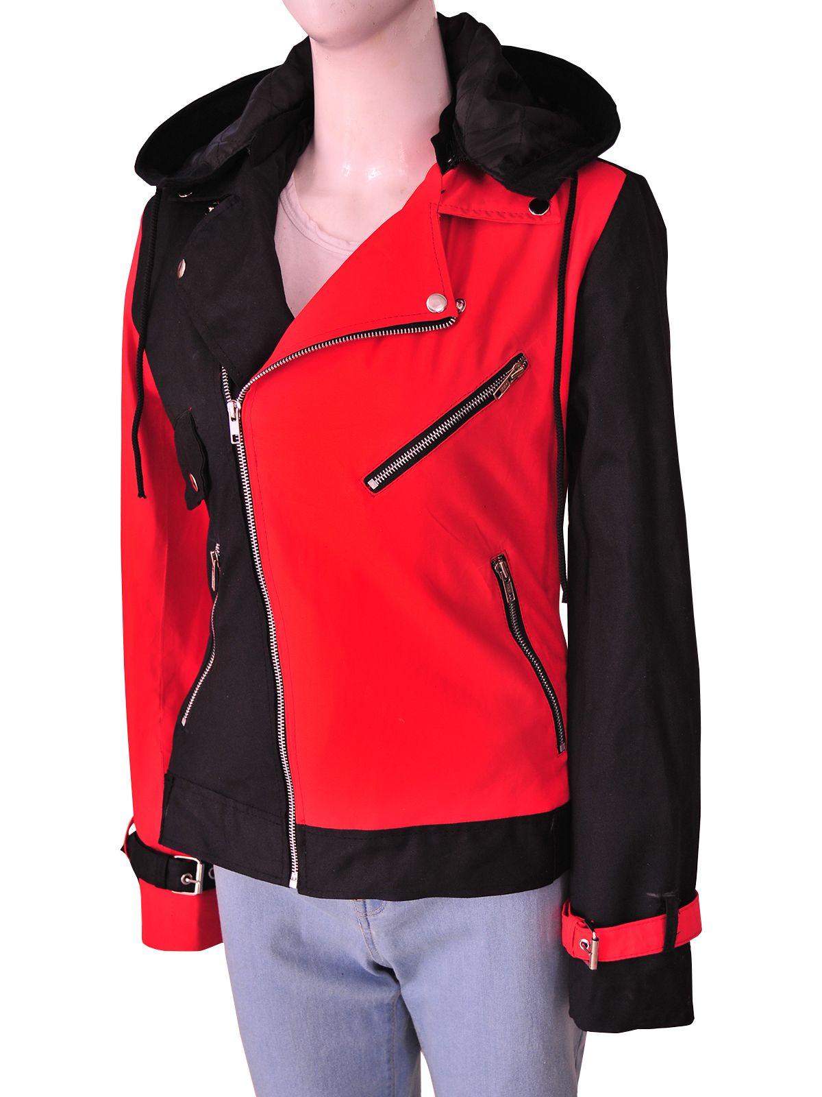 Harley Quinn Womens Black /& Red Psychotic Biker Hooded Cotton Casual Jacket
