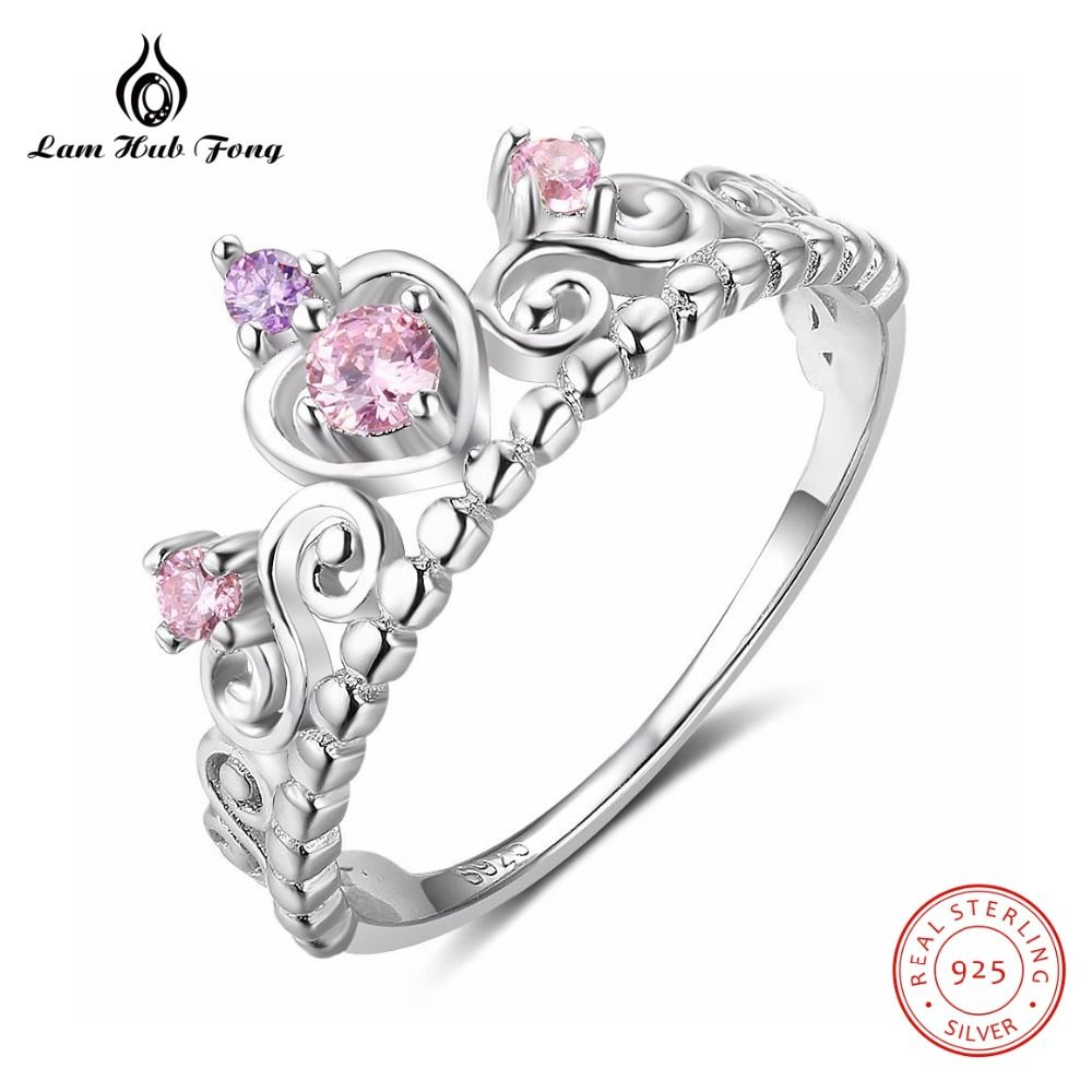 3ba6bcaeb50c Luxury Crown Ring for Women Pink Purple Stone Cute Heart Ring Wedding Bands  Christmas Gift Alliance