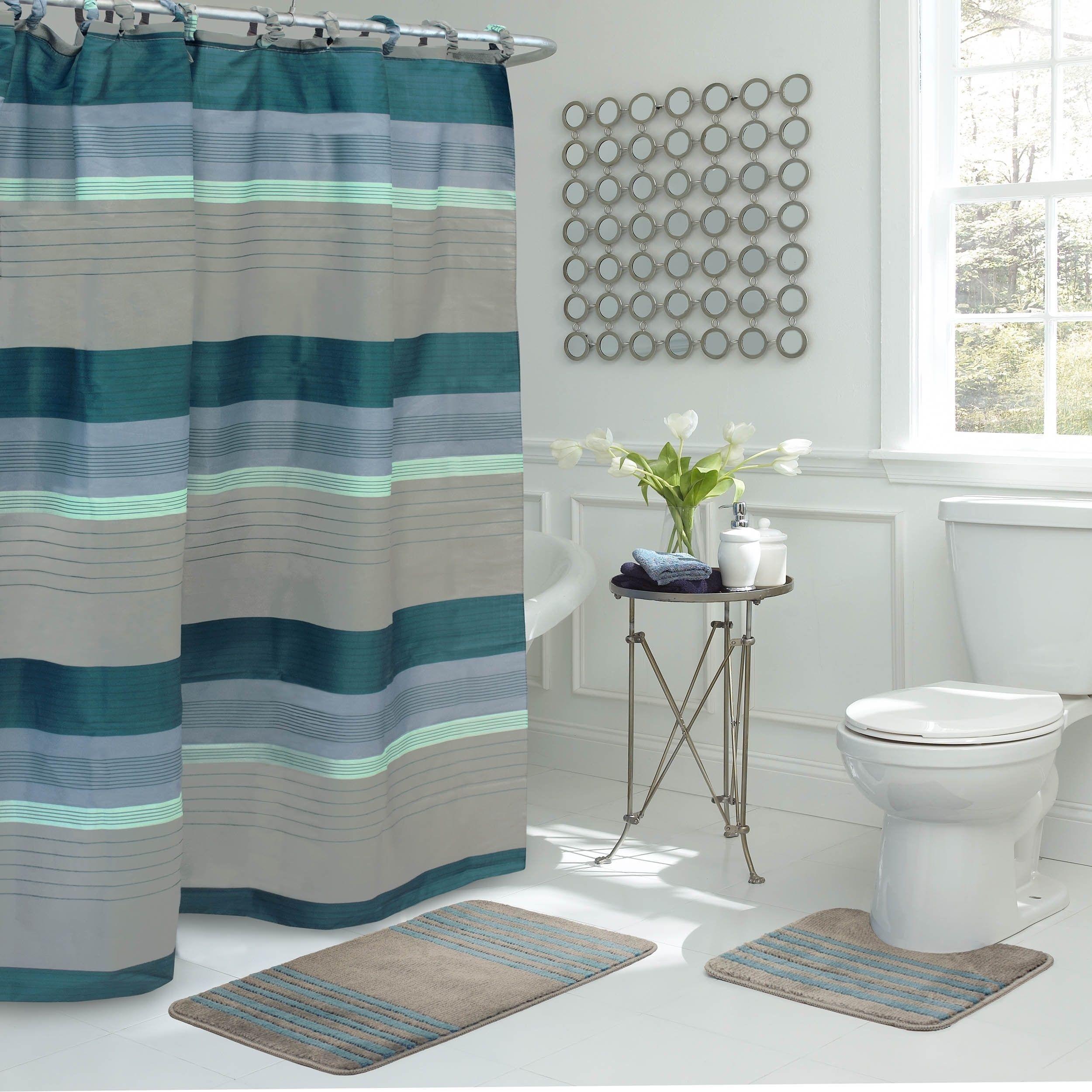 Regent Stripe 15 Piece Bathroom Shower Set Denim Blue Grey