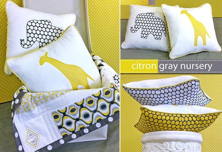 Citron-Gray Animal Applique Pillows. I'd like to mature these a bit and throw some on my bed or couch and possibly make some for future baby rooms!