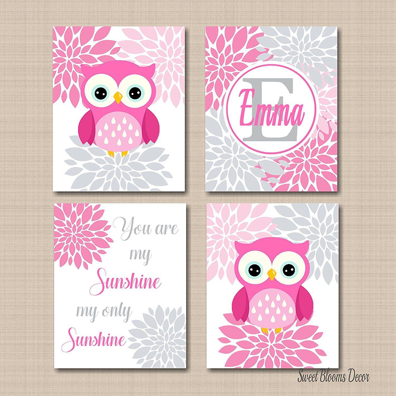 Pink gray nursery wall art owls girl room decorpink gray owl baby