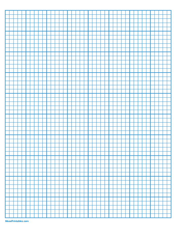 Printable 5 Squares Per Inch Blue Graph Paper For Letter Paper Free Download At Https Museprintables Com Downl Printable Graph Paper Graph Paper Letter Paper