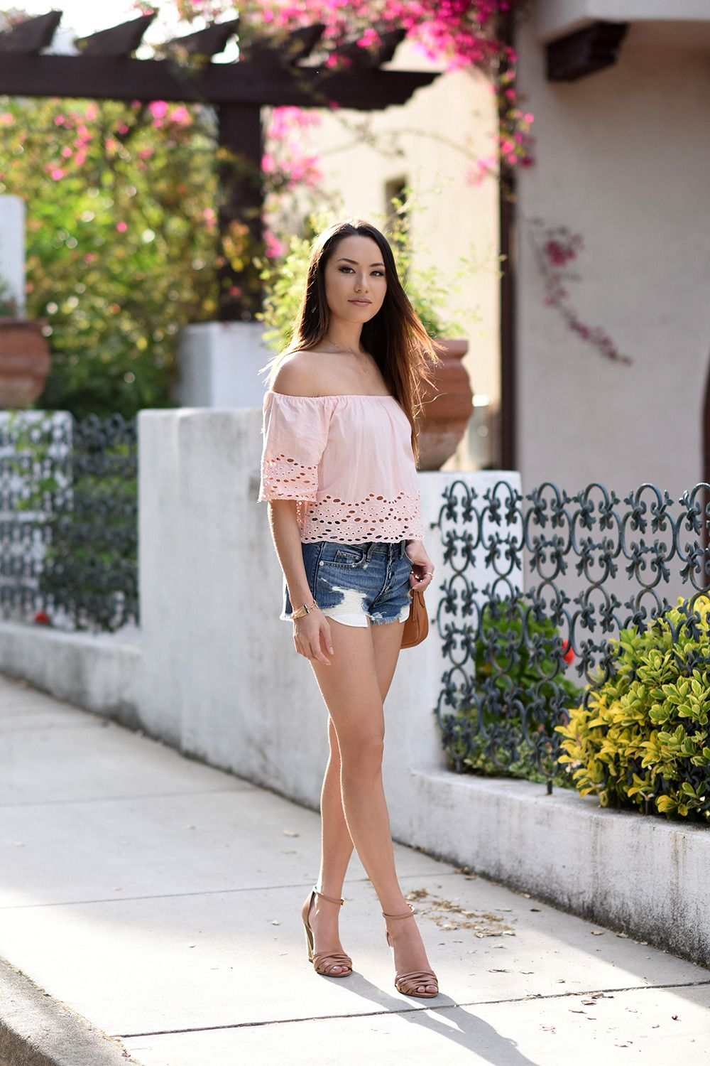b0c10195b6fe7 Image result for pink off shoulder top outfit