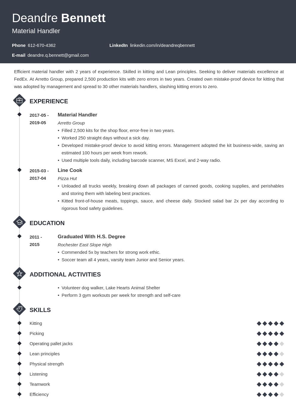 Material Handler Resume Example Template Diamond Freelance Writer Resume Resume Examples Job Resume Examples