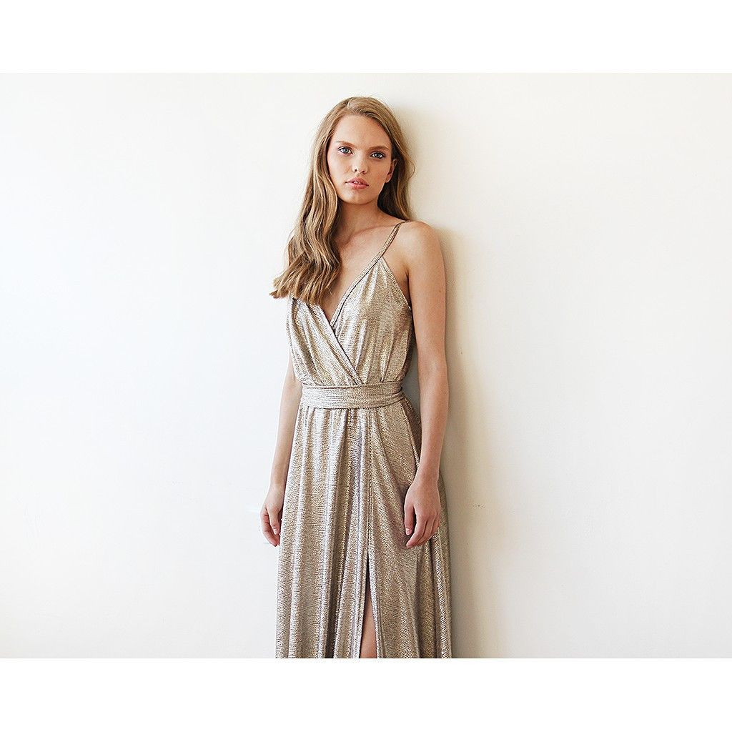 Metallic gold wrap gown with slit shops gowns and wraps