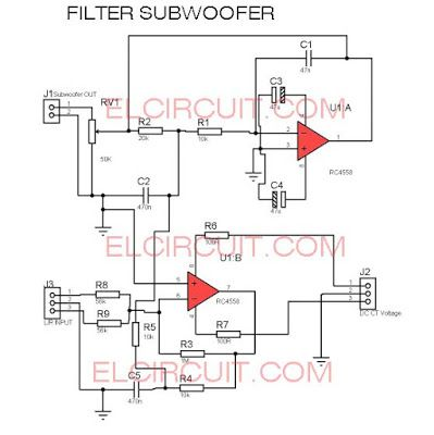 new filter subwoofer circuit audio schematic pinterest circuit rh pinterest com Subwoofer Crossover Circuit Pre Amp Subwoofer Wiring
