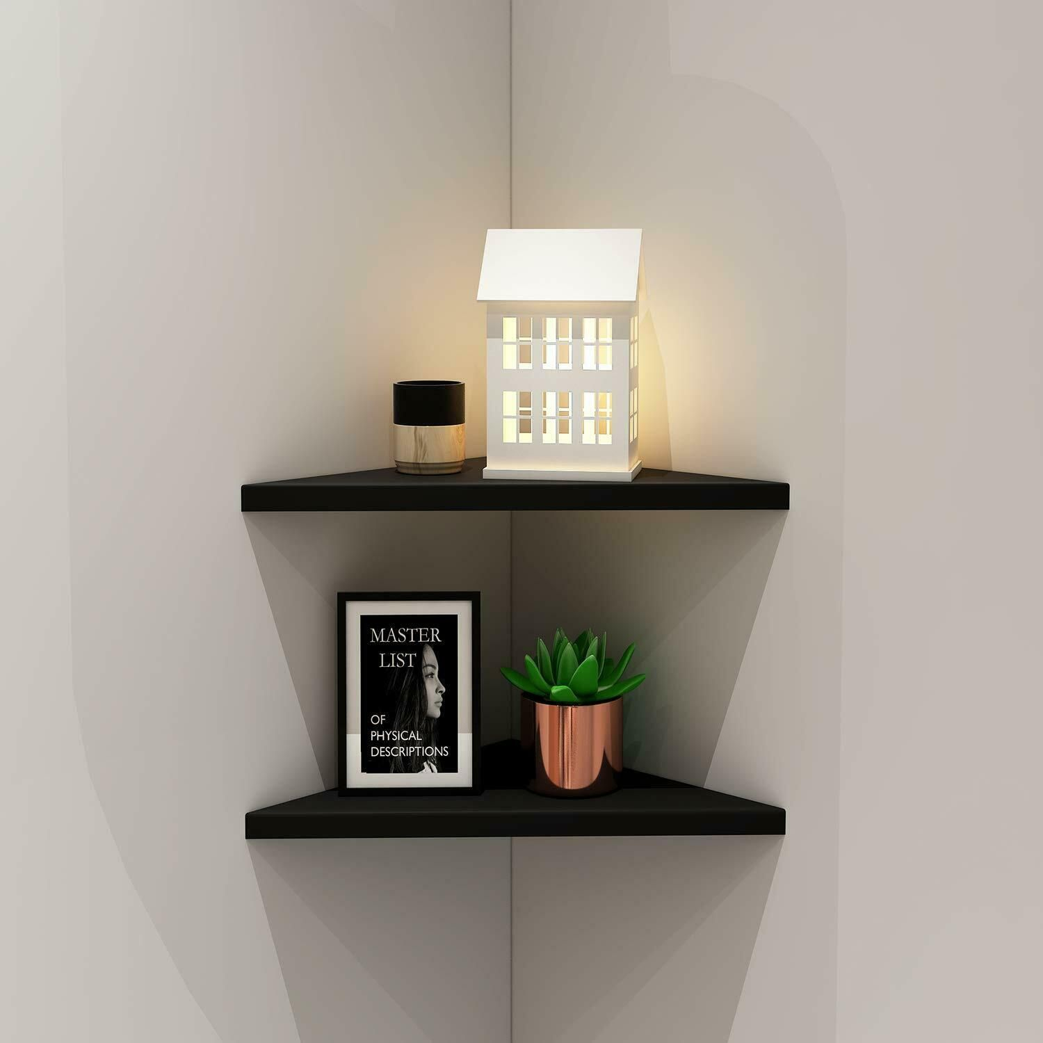 2 Tier Wall Corner Wood Easy To Install Wall Corner Shelf Home Furniture 13 65 Corner Shelves Ide Minimalist Shelves Corner Wall Shelves Wall Shelf Decor