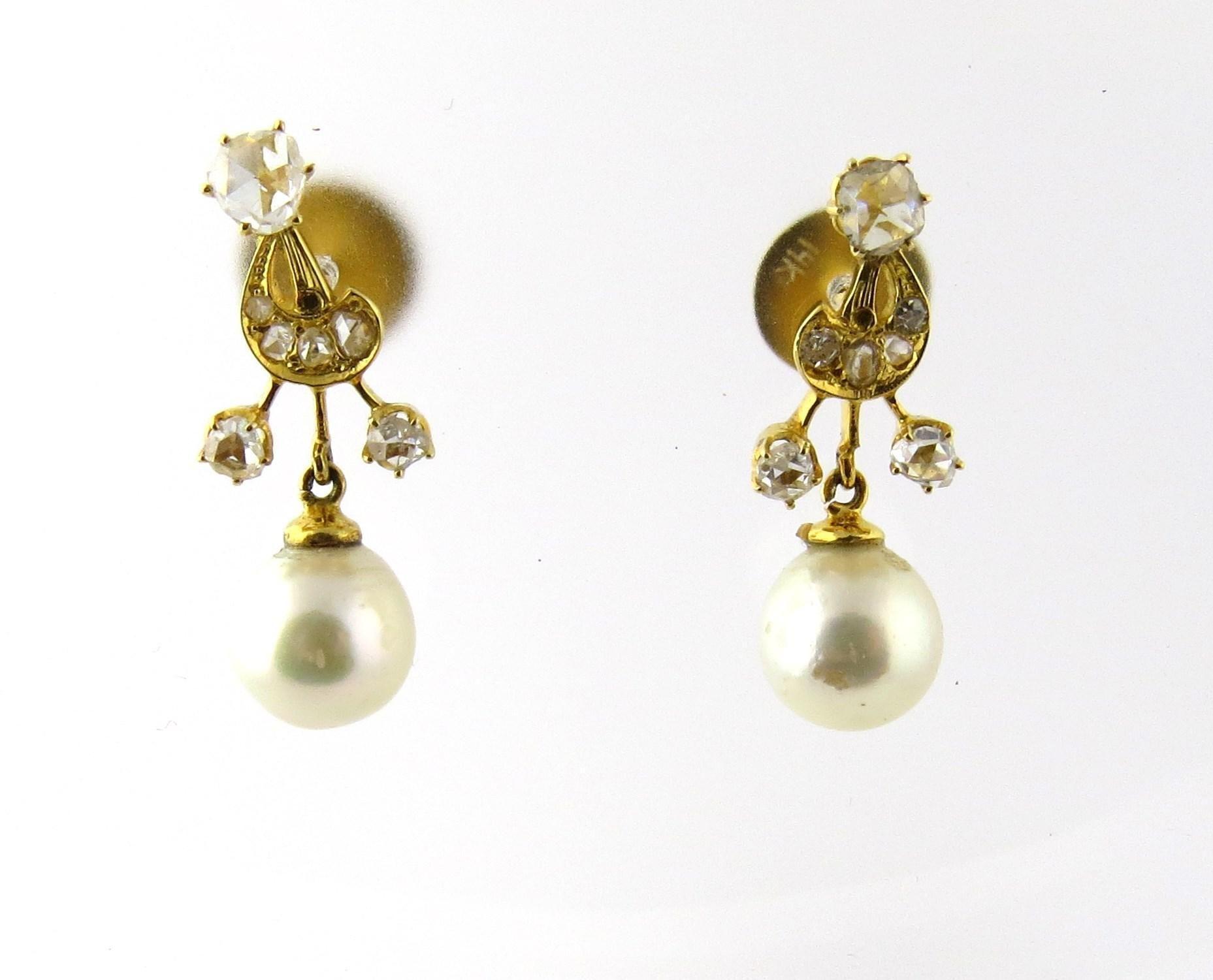 Art Nouveau / Neo Classical Diamond Pearl Drop Earrings 1ct
