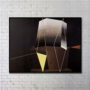 Leinwandbild Abstrakt Geometrisch Digitaldruck mit Schwarze Rahme
