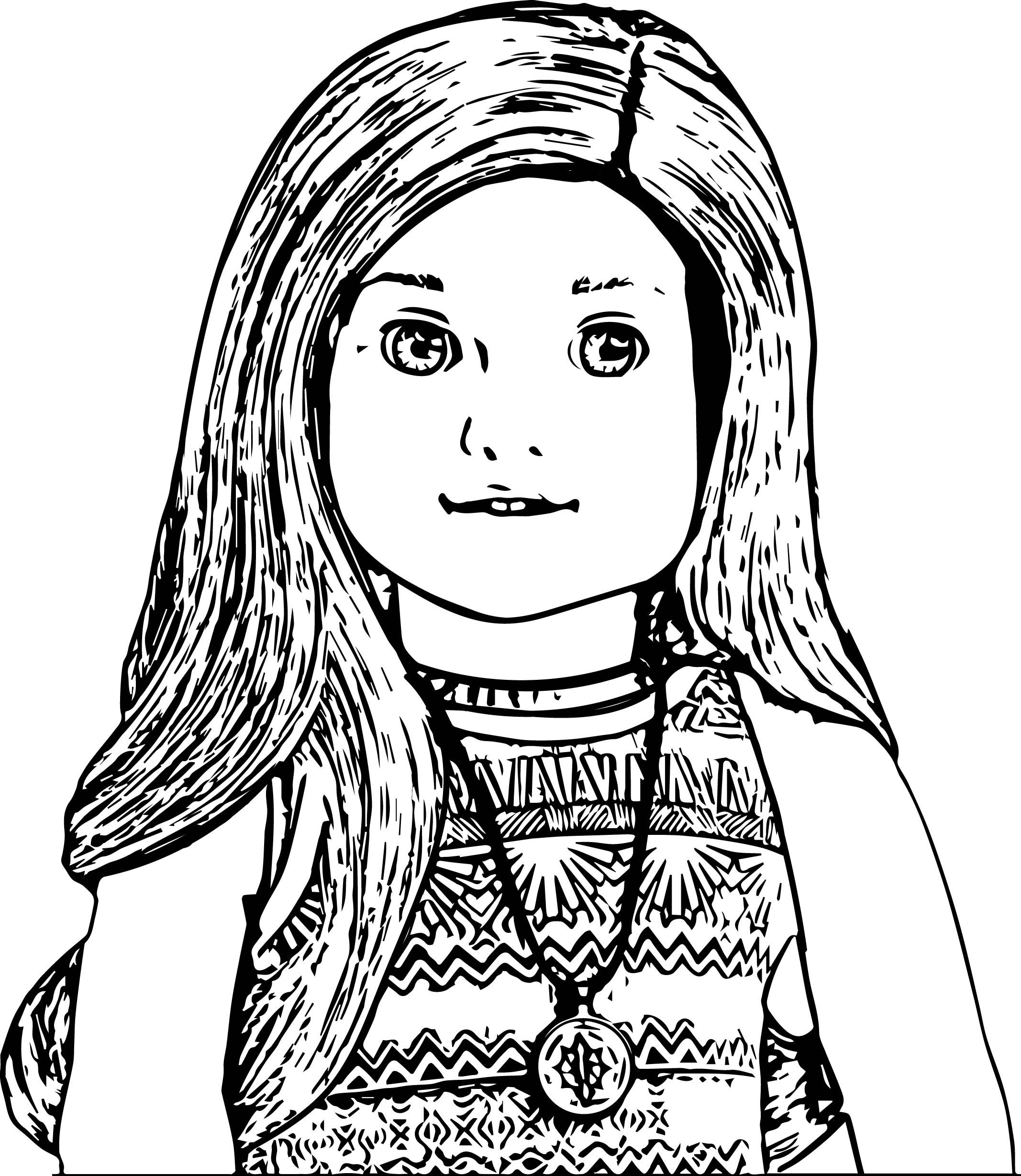American Doll Lea Closeup Coloring Page American Girl Doll Printables Coloring Pages For Girls American Girl Printables