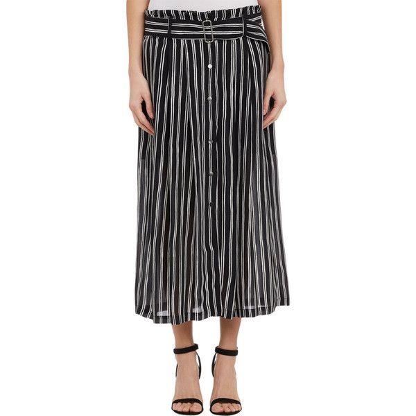 A.L.C. Stripe McDermott Skirt (€440) ❤ liked on Polyvore featuring skirts, mini skirts, multi, miniskirts, short mini skirts, women skirts, elastic waist mini skirt and sheer mini skirt