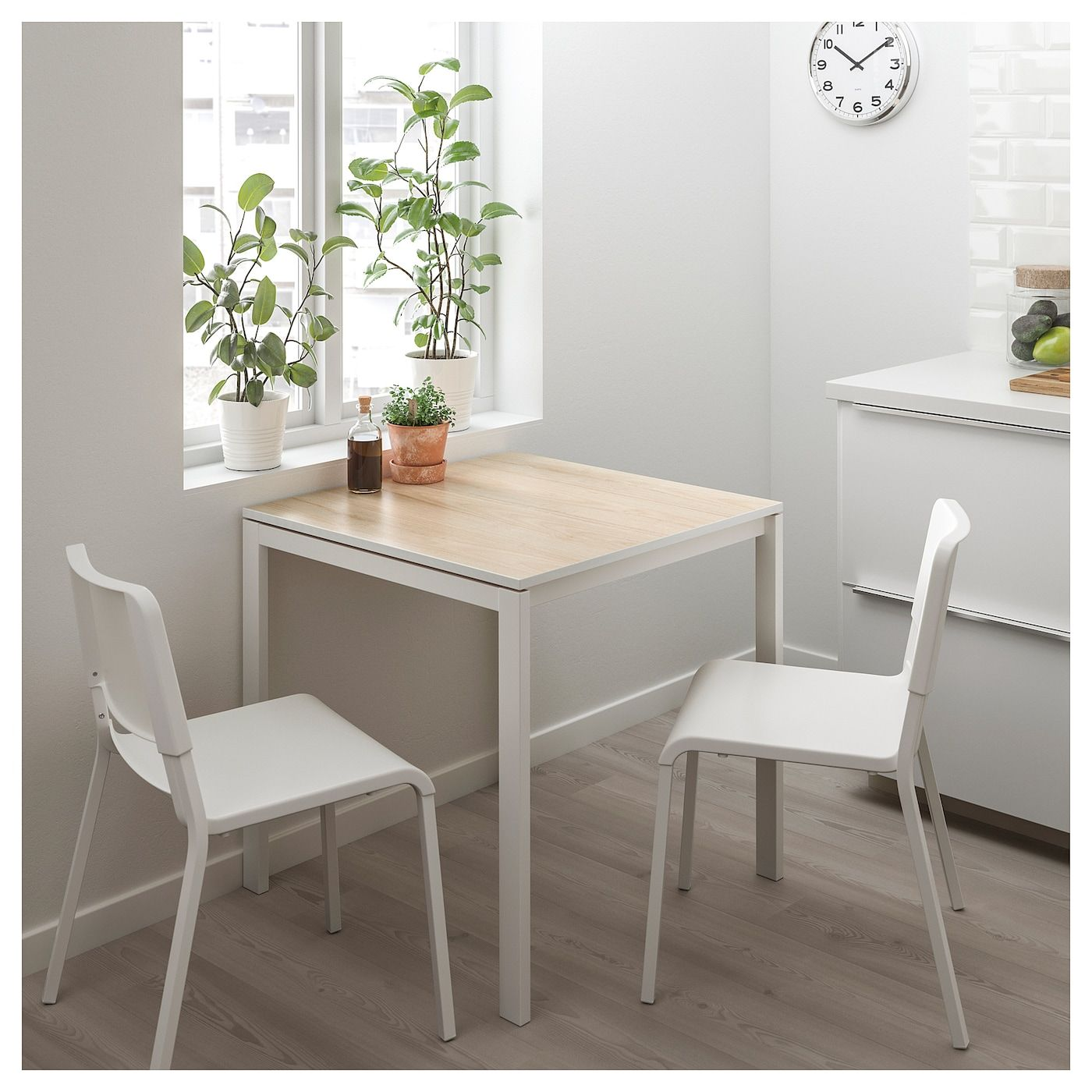 Tavolo Ikea Bianco.Melltorp Teodores Tavolo E 2 Sedie Frassino Bianco
