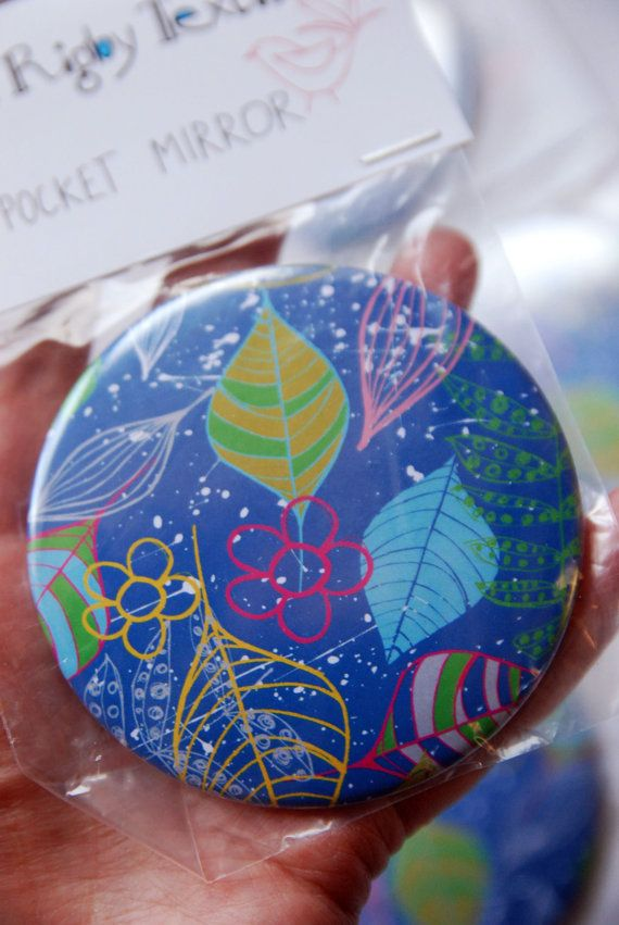Catching Leaves Pocket Mirror by GraceRigbyTextiles on Etsy
