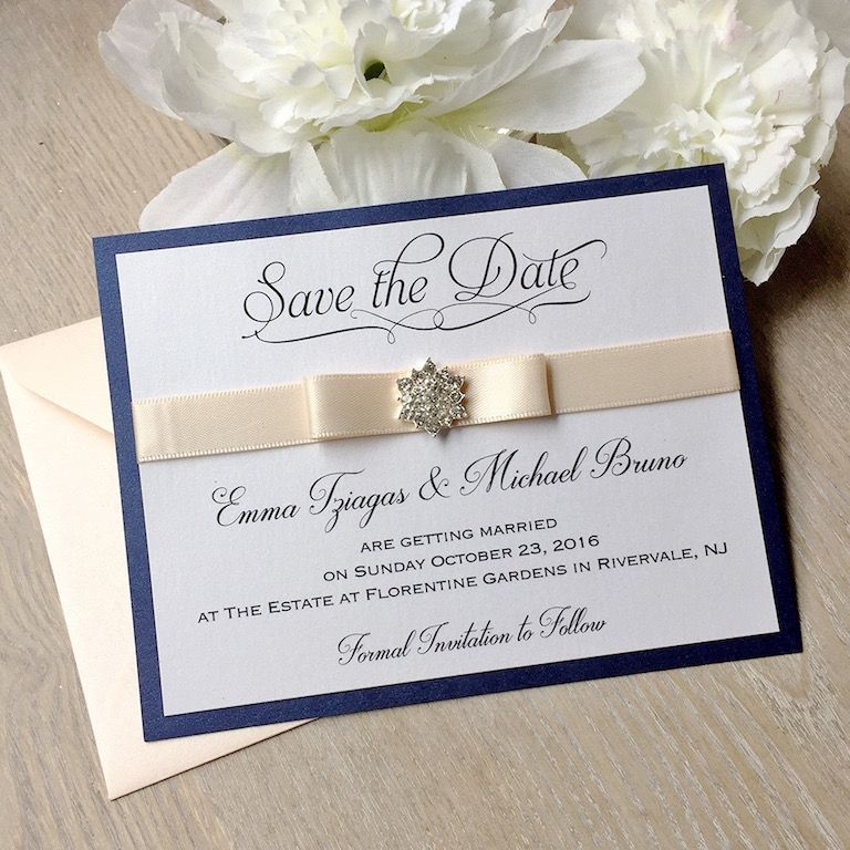 sample wording for save the date wedding cards%0A Navy and Blush Save the Date Card  Blush Pink Ribbon and Snowflake Crystal  Button