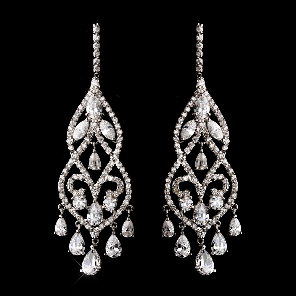 Fabulous Cz Chandelier Bridal Earrings  Silver, Gold And Rose Gold