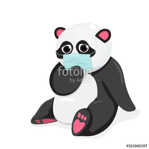 vector illustration of a panda with a mask