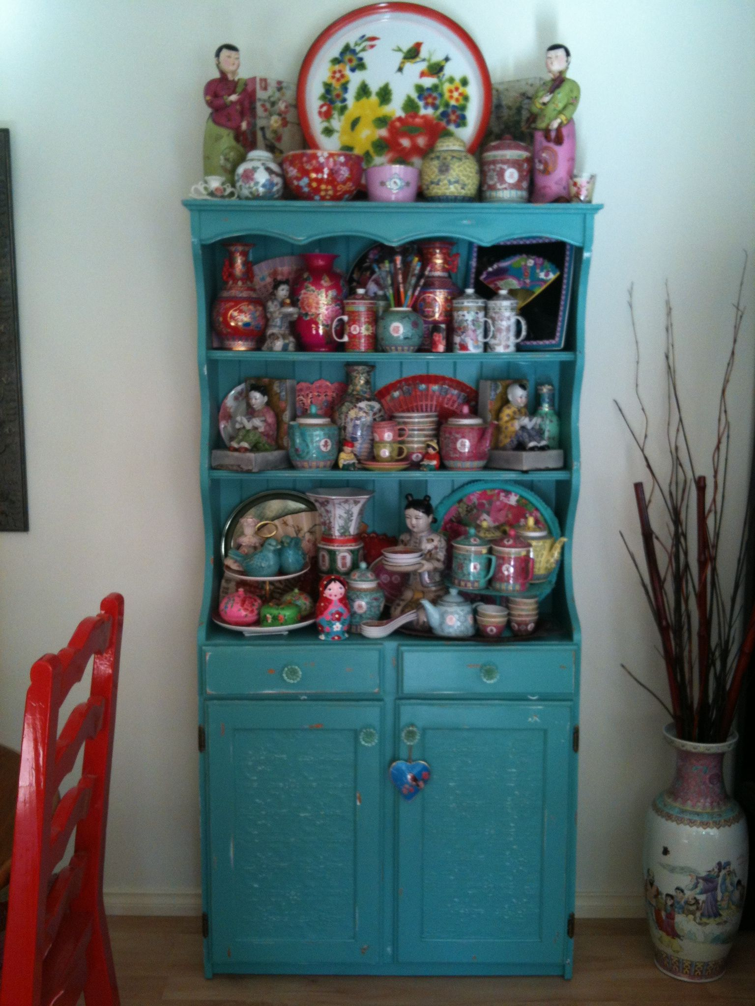 I revamped this pine kitchen dresser with some wallpaper and paint ...
