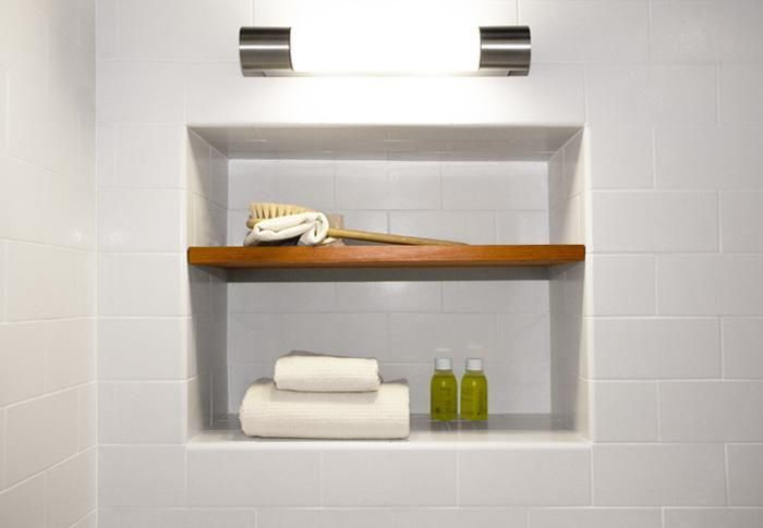 Shower Niche With Wood Shelf Via Remodelista Shower Niche
