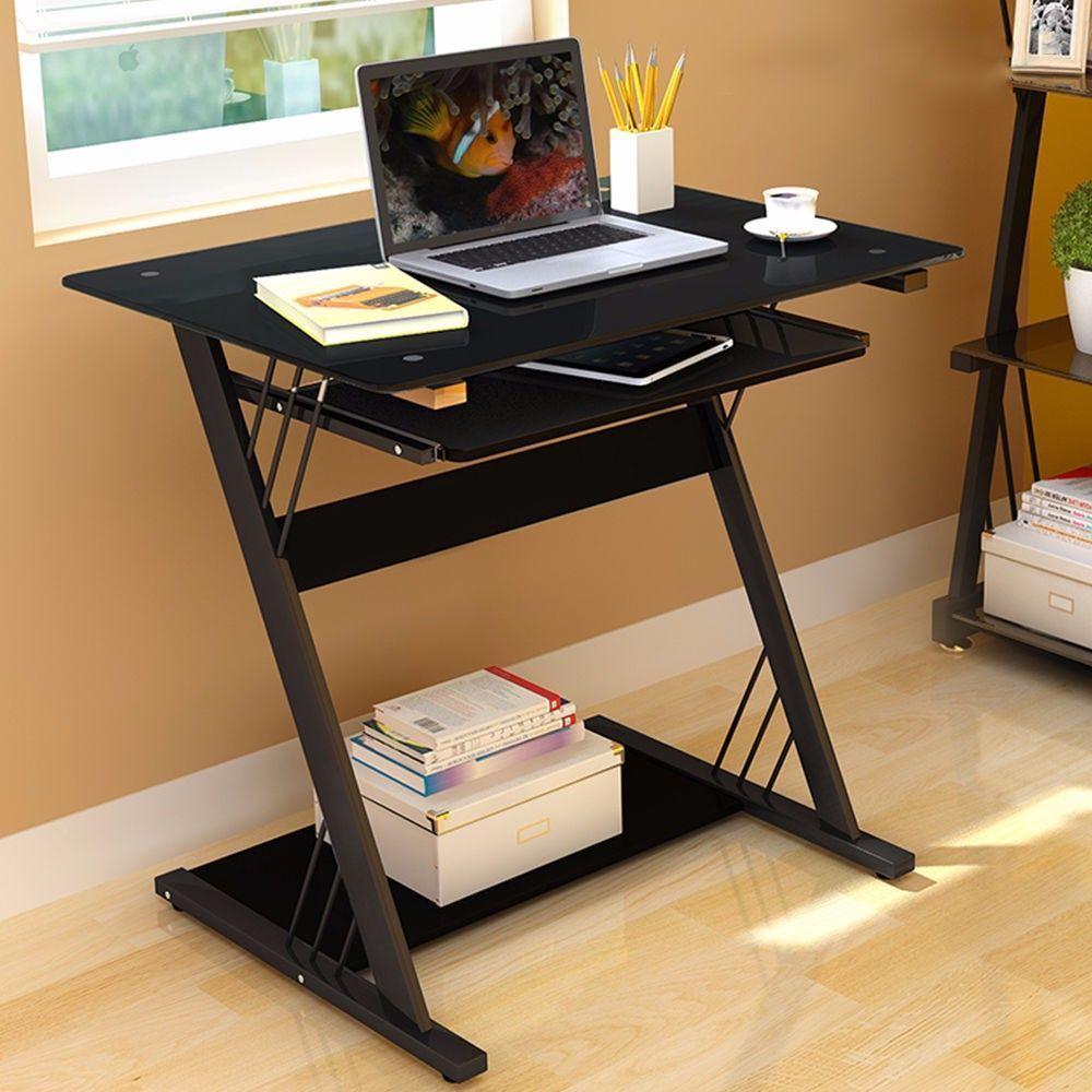 black glass computer desk table office furniture workstationpc rh pinterest com