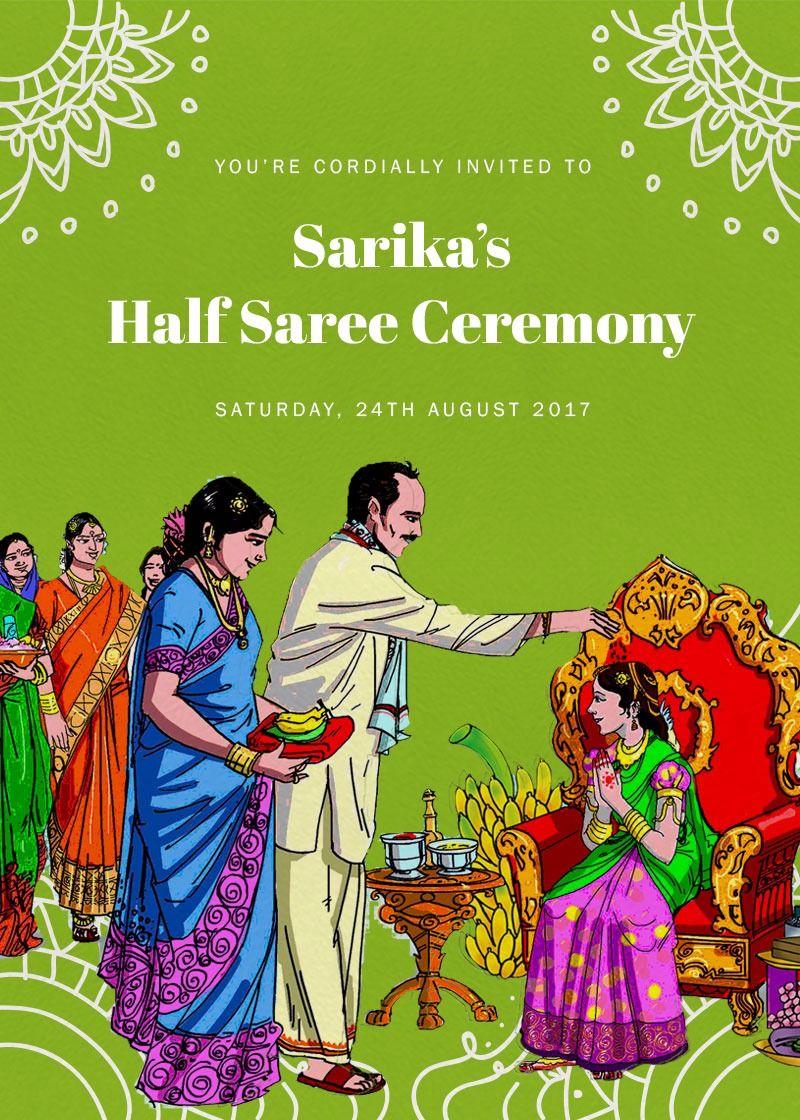 Festive Ambience Half Saree Function Online Invitation Card Half Saree