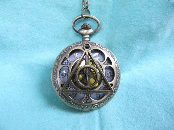 Harry Potter Deathly Hollows fleur poche montre pendentif cadeau pour hommes Bijoux Pendentif charm chaîne bijoux