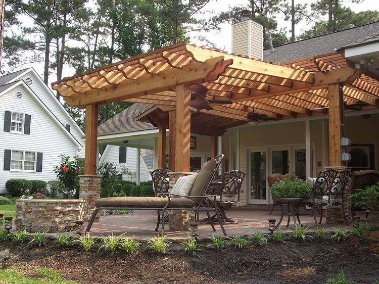 Pergola en bois pour la terrasse en 22 exemples superbes!   Banc ...