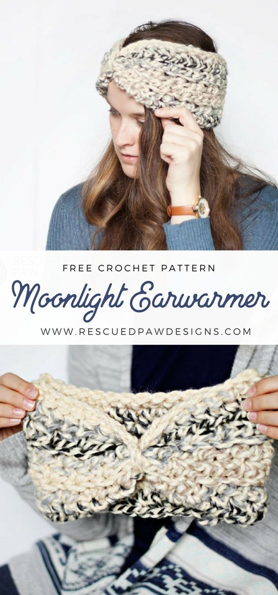 Free Moonlight Ear Warmer Crochet Pattern & Tutorial. | Trapillo y ...