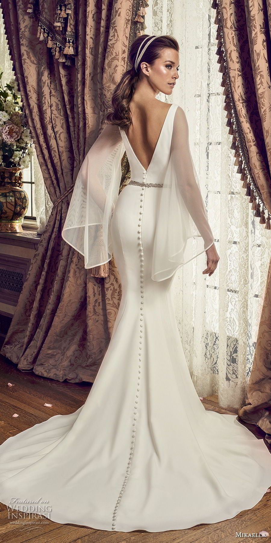 8fbb6e90e44f2 mikaella fall 2017 bridal long angel sleeves deep plunging v neck simple  clean chic elegant fit and flare wedding dress open v back chapel train  (2169) bv ...