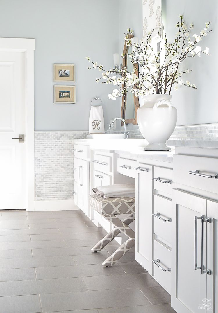 Neutral Transitional Master Bath White Cabinets Carrara Marble Benjamin  Moore Silver Lake  2