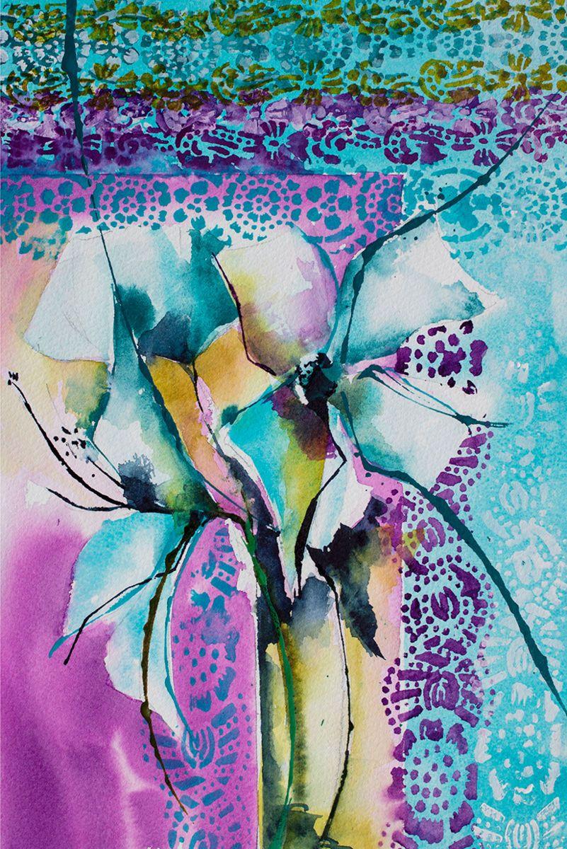 Anjika (Peinture), 30x20 cm par Véronique Piaser-Moyen Aquarelle originale sur papier 300G
