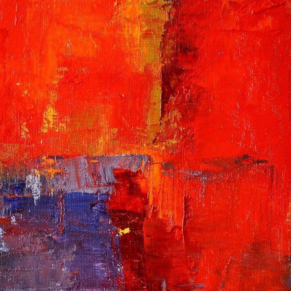 red abstract small mid century modern inspired oil painting rh pinterest com